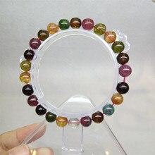 Comercio al por mayor 7-10mm Genuino Natural Colorida Turmalina Cristal de Cuarzo Piedra Granos Redondos de La Joyería Transparente Charm Pulsera Del Estiramiento