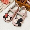 Koovan niños shoes 2017 de cuero real de los niños de dibujos animados mini ratón calzados shoes princesa de las muchachas de baile para las niñas pisos