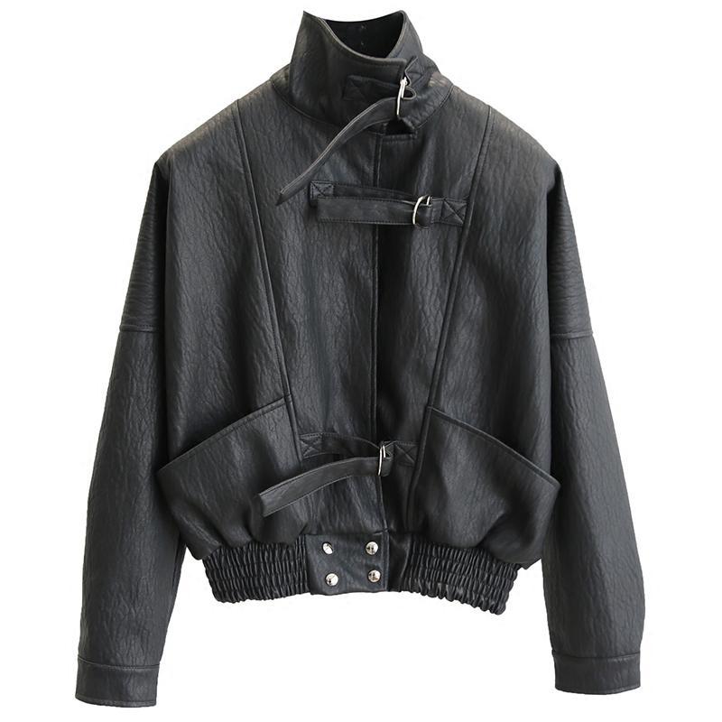 Women New Harajuku Faux   Leather   jacket Batwing Sleeve Loose Biker Coat Casual Autumn PU Outwear Punk Bomber Jackets Female