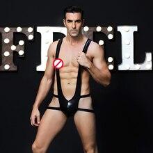 PVC Leather Male Sexy Lingerie Fetish Bondage Restraint Faux Harness for Men Bodysuit Erotic Catsuit  sexy costumes