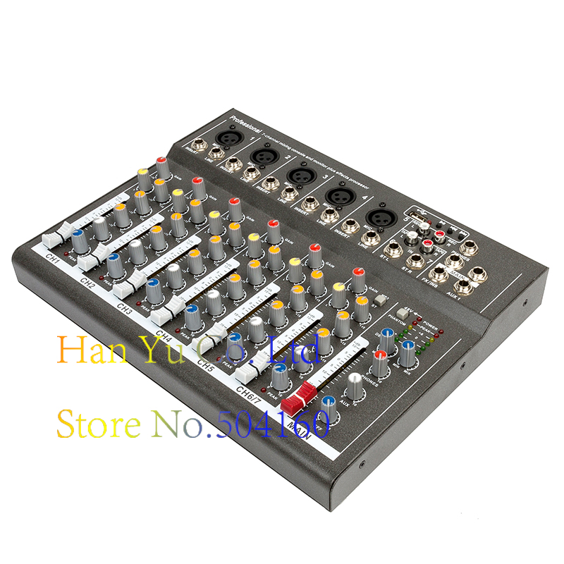 Professional Digital Microphone Sound Mixing Console 48V Phantom Power 7 Channel Karaoke Audio Mixer Amplifier With USB mini portable audio mixer with usb dj sound mixing console mp3 jack 4 channel karaoke 48v amplifier for karaoke ktv match party