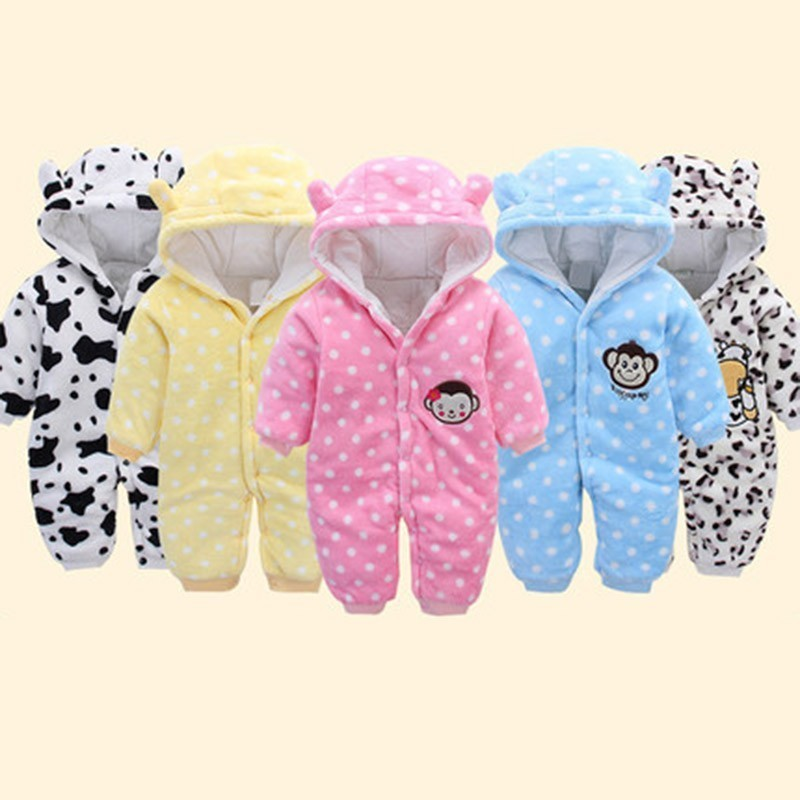Winter Baby Rompers Cotton Baby Girl Clothes Dot Hooded Cartoon Baby Boy Clothes Warm Roupas Bebe Infant Jumpsuits Kids Clothing summer new baby rompers cotton baby girl clothes short sleeve pink big eye jumpsuits roupas bebes infant clothing