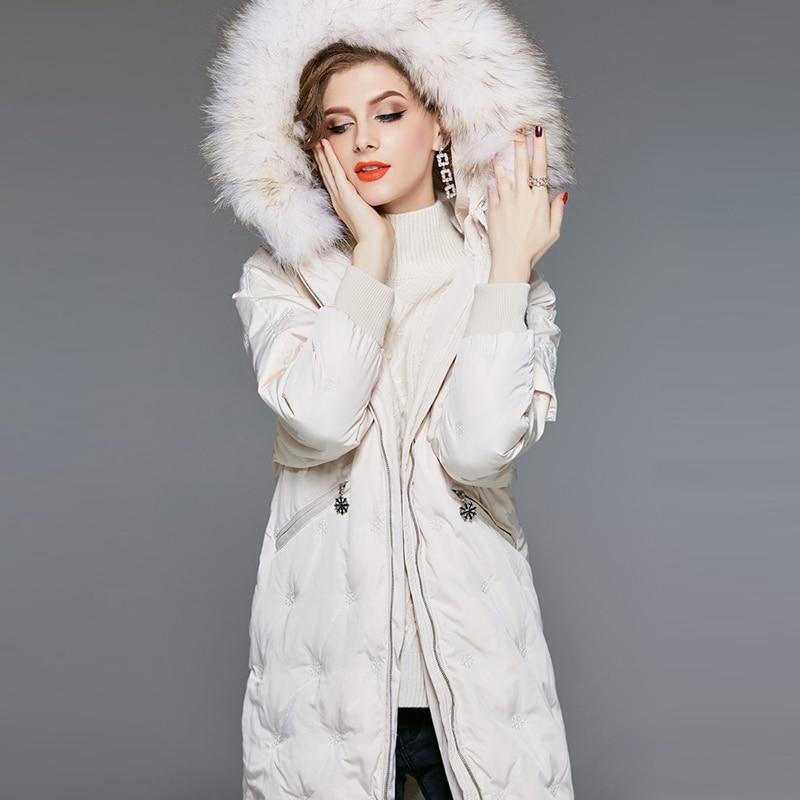 Women's Down Jacket Hooded Long Winter Coat Women Big Raccoon Fur Collar White Duck Down Coat Casual Parkas YP2133