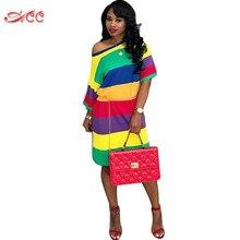 Women s Summer Dress Cotton Casual Rainbow Stripe Dress O-neck Short Sleeve  Dress Daily Home Wear Plus size Lady Dress streetwea 9982777cce94