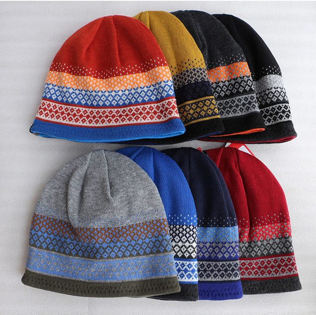 Casual plaind striped Snowboard Beanie Hats for men and women double layer  Mountaineering thickened desing hip hop hat c112b5e3eca