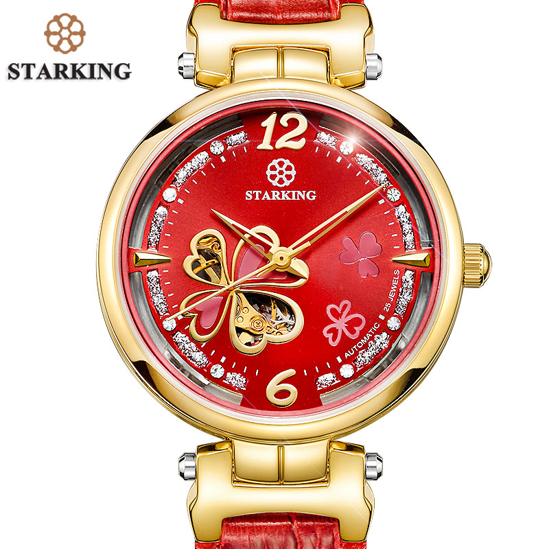 STARKING Colorful Shell Dial Crystal Rhinestone Women Dress Watches Luxury Brand Fashion Rose Gold Watch Relogio Feminino AL0200 kimio luxury rose gold shell dial women watches 2016 elegant reloj mujer crystal diamond ladies watch dress relogio feminino