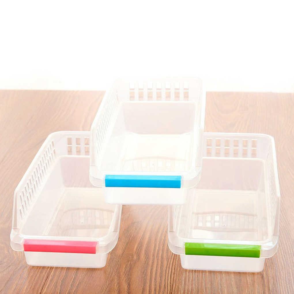 Cor aleatória Caixa de Cestos de Armazenamento De Comida de Plástico Da Gaveta de Geladeira Forma Organizador Do Armário Despensa