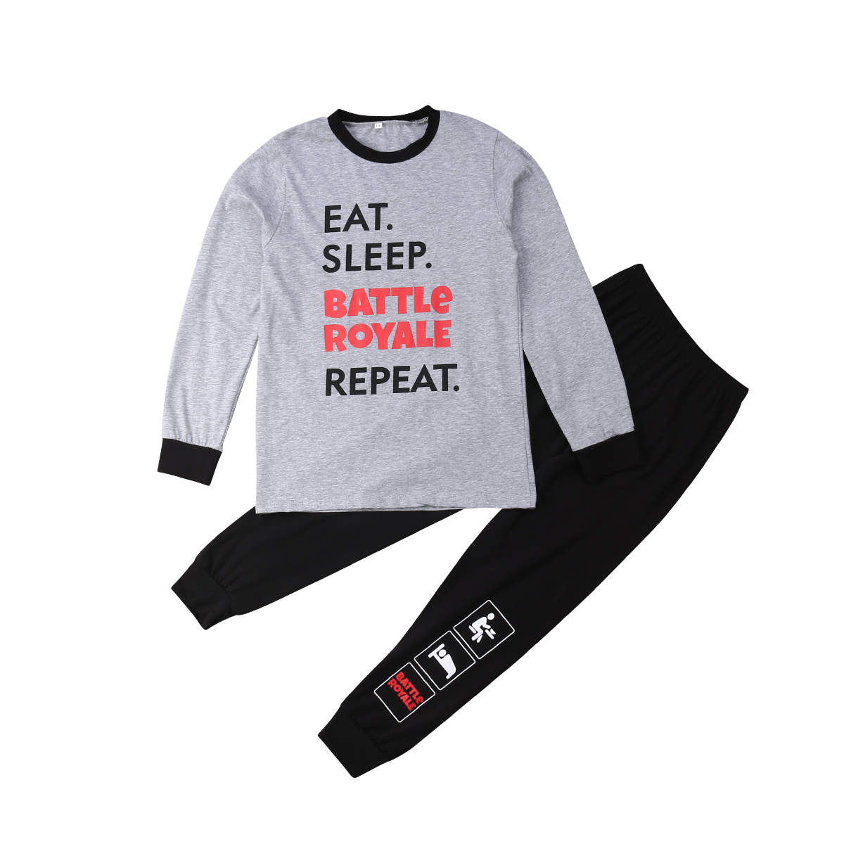 Girls Outfit T-Shirt Long-Pants Toddler Autumn Boys Kid O-Neck Gray Letter Black 10-16T