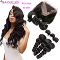 360 Lace Frontal Closure With Bundles Pre Plucked Lace Frontal Weave Loose Wave Curly Peruvian Virgin Hair With Frontal Closure