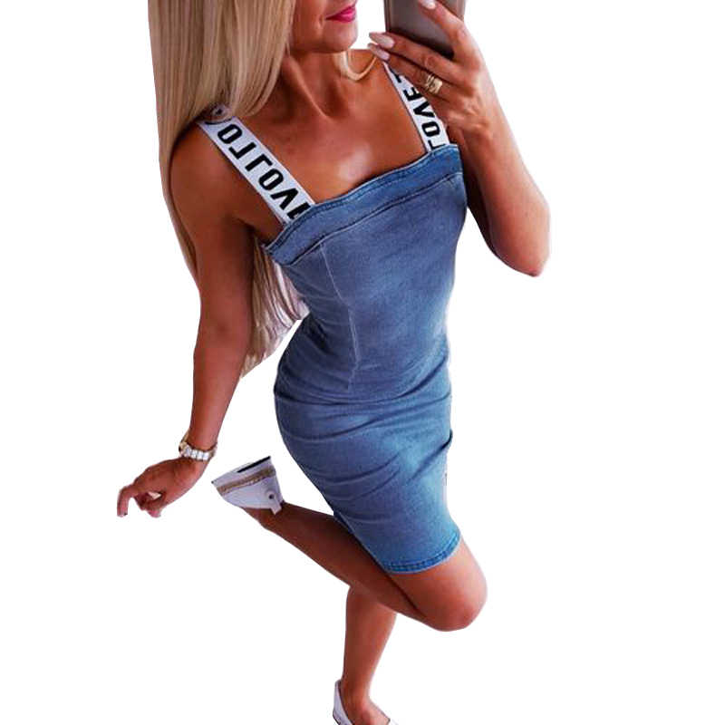 Fashion Women's Letter Sleeveless Denim Dress Bodycon Midi Jeans Dress Club Wear