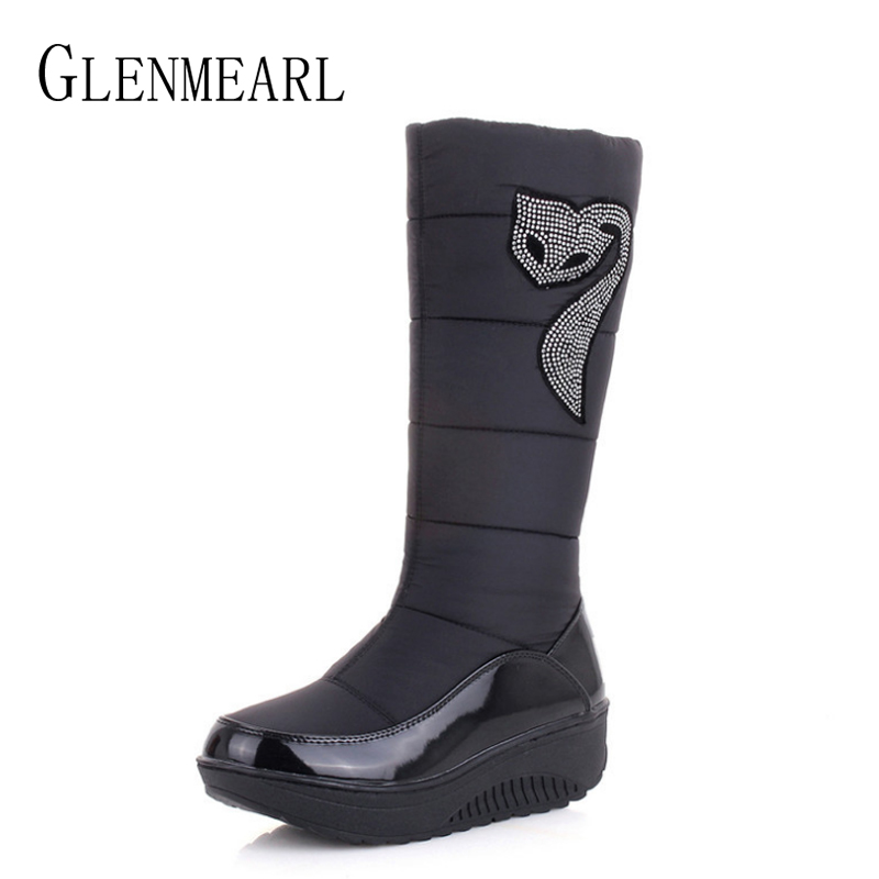 Women Snow Boots Winter Shoes Platform Warm High Boots Woman Plush Slip On Rhinestone Fashion Ladies Shoes Black Plus Size DE недорго, оригинальная цена
