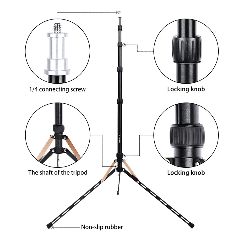 Image 3 - Fosoto FT 190B Gold Led Light Tripod Stand Bag Head Softbox 2m For Photo Studio Photographic Lighting Flash Umbrella Reflector-in Photographic Lighting from Consumer Electronics