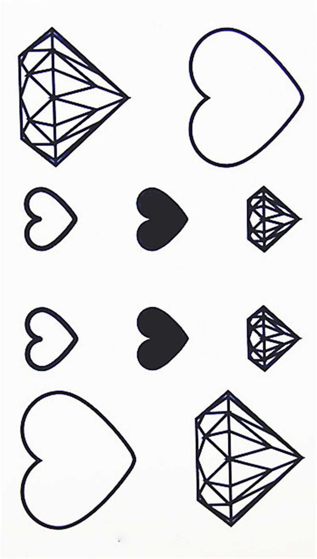 10 wzorów niebieski kolor serce diamenty nowa moda wodoodporna tymczasowa naklejka tatuaż tatuaż tatuaż kobiety flash fałszywe henna