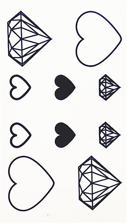 10 узоров, Синие стразы в виде сердца, новая модная Водонепроницаемая Временная тату-наклейка, тату, Женская флеш-поддельная Хна