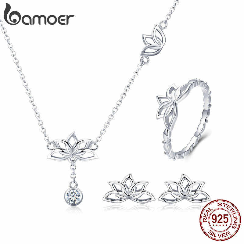 BAMOER Elegant 925 Sterling Silver Lotus Flower Earrings & Necklaces Pendant Jewelry Sets for Women Silver Jewelry Gift ZHS067