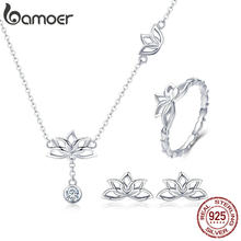 BAMOER Elegant 925 Sterling Silver Lotus Flower Earrings & Necklaces Pendant Jewelry Sets for Women Silver Jewelry Gift ZHS067(China)