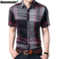 2016 Striped Men Shirt 5XL Summer Mens Shirts Short Sleeve Brand Clothing Mens Dress Shirts Slim