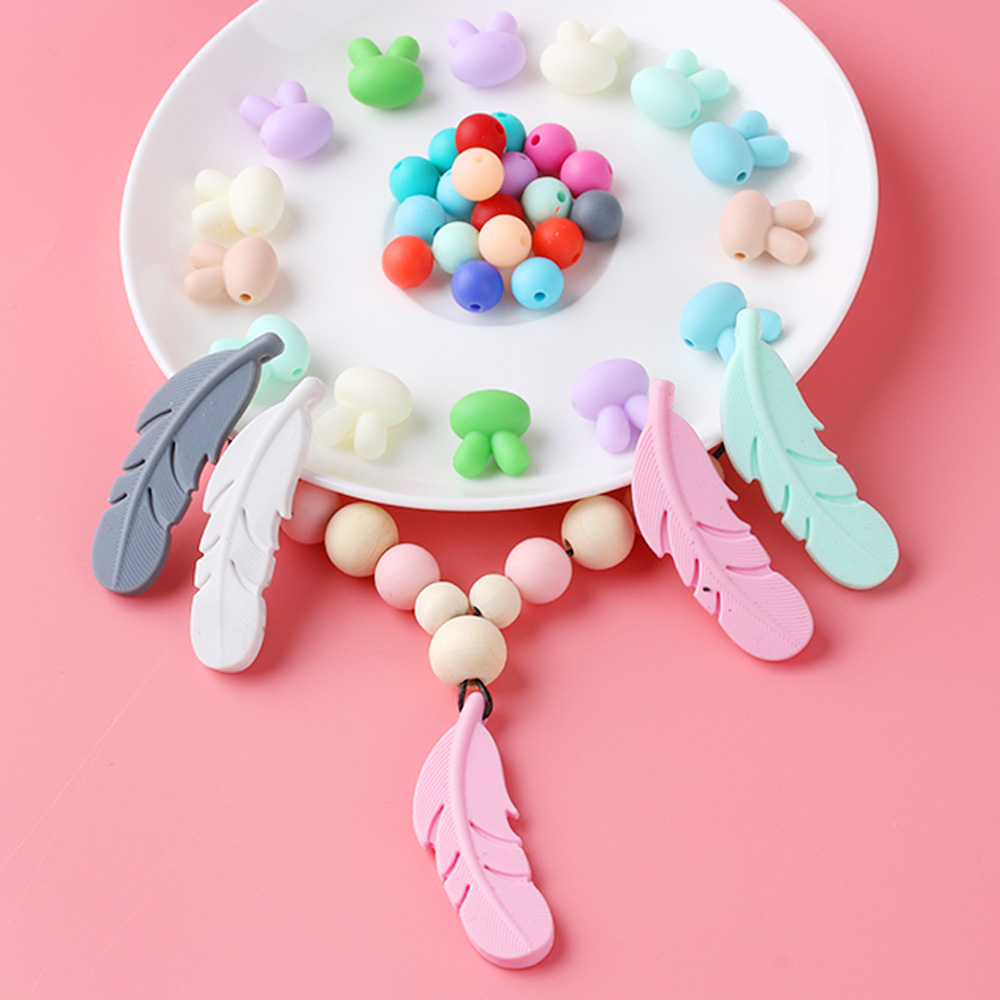 Baby Infant Silicone Feather Jewelry Teething Necklace Baby Nursing Chewing Toys