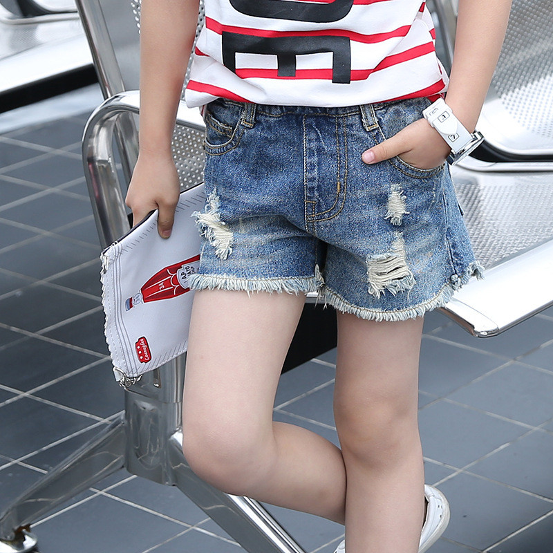 2018 Summer Baby Girls Denim Shorts Elastic Waist Casual Jeans Short Trousers Children Clothing Fashion Hole Kids Shorts women s floral embroidery denim shorts 2017 summer fashion hight waist short jeans femme cotton shorts plus size xl e984