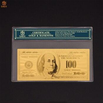 Billetes de oro USA, nueva moneda, dinero de 100 dólares, billetes de papel de aluminio de color dorado, colecciones de billetes falsos y Regalos divertidos