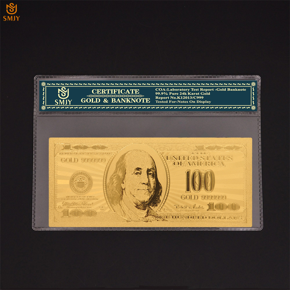 USA <font><b>Gold</b></font> Banknotes New Currency <font><b>100</b></font> <font><b>Dollar</b></font> Money Colorful <font><b>Gold</b></font> Foil <font><b>Bills</b></font> Fake Banknotes Collections And Fun Gifts image
