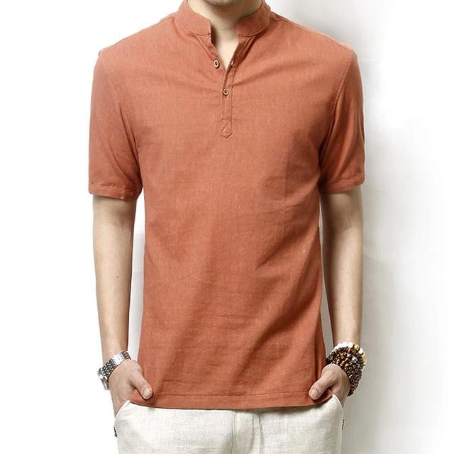 Estilo japonés informal hombres de cuello de la camisa de lino de algodón de manga corta camisa grande de las yardas