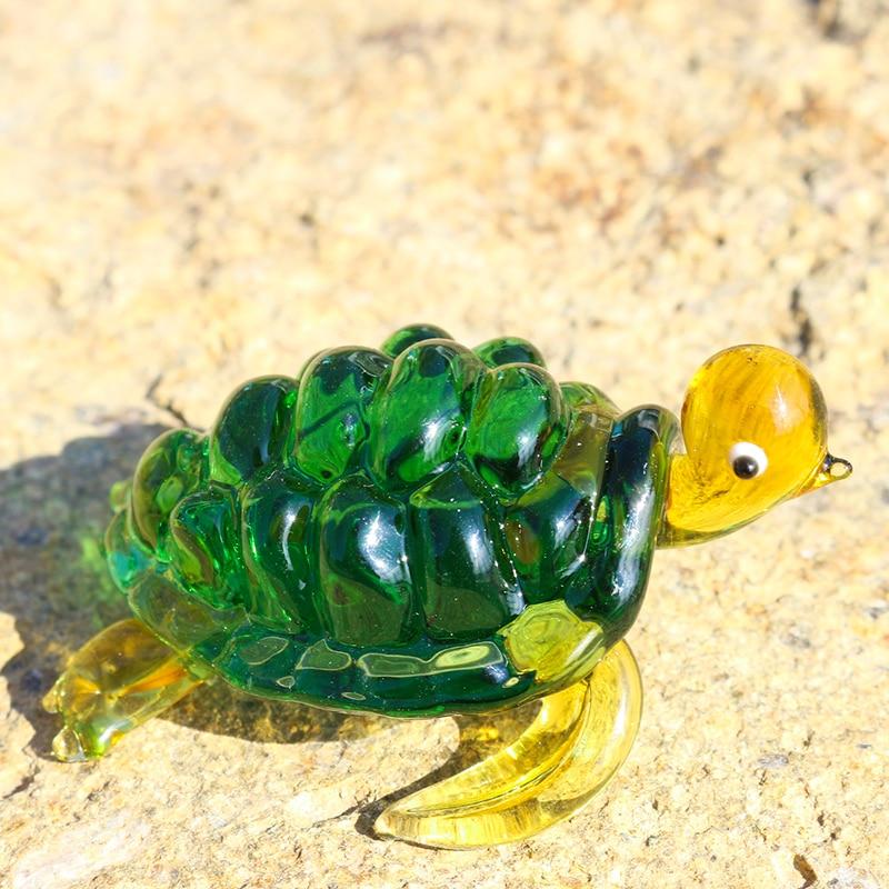 Glass Figurine Green Sea Turtle Handmade Crystal Cute Little Artwork Hand Blown Miniatures Home Decor yellow