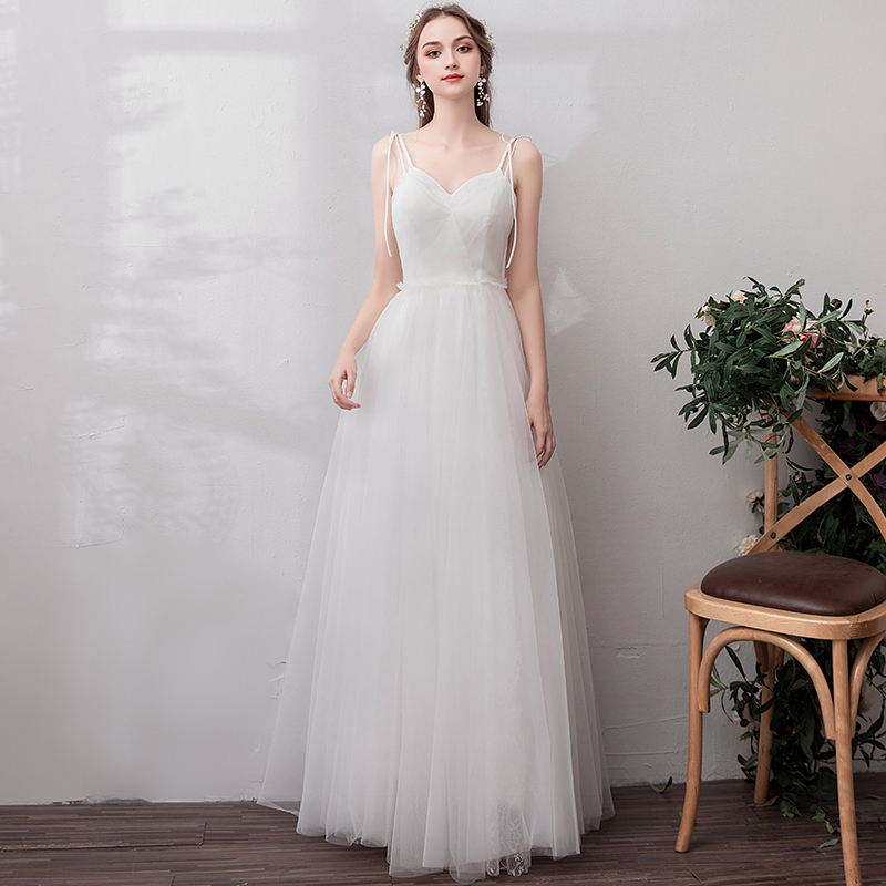 Simple Wedding Dress 2019 Spaghetti Straps Tulle A Line Back Lace Up Bridal Gowns Robe De