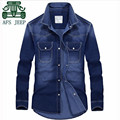 AFS JEEP 2016 New Design Man's Denim Full Length Shirts,Dark Blue,Sky Blue Man Breast Pockets Leisure Cargo Thin Camisas hombres
