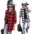 Girl Shirt Cotton Casual Kids Girls Shirts Long Sleeve Children Clothes Brand Girls Plaid Blouses Long Length Teenage Girls Tops