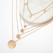 Simple Hollow Women Round Flower Crystal Chain Pendant Multilayer Clavicle Necklace Exquisite Party Gold Color Necklace Set round pendant chain necklace set 2pcs