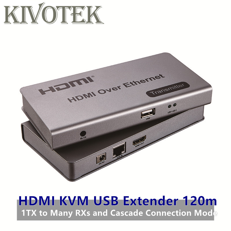 HDMI KVM USB Extender by cat5e/6 up to 120M TCP/IP Compliant,Supports One Transmitter to Many Receivers HD1080P,IR Remote Contro ...