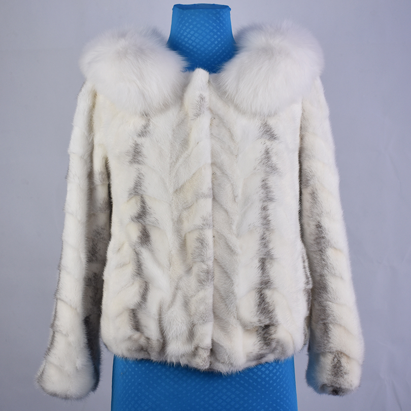 2018 new spring real mink fur fox fur collar coat jacket short style warm high fashion women natural fur thick street style