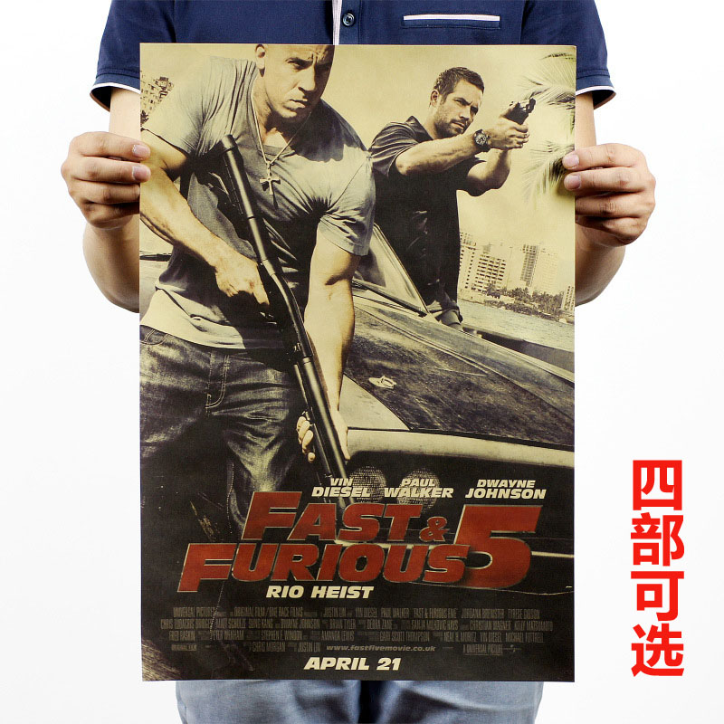 TOP COOL -2 piece  The Fast and the Furious vintage retro poster print art- HOME bar coffee house Decor ART --Free shipping cost