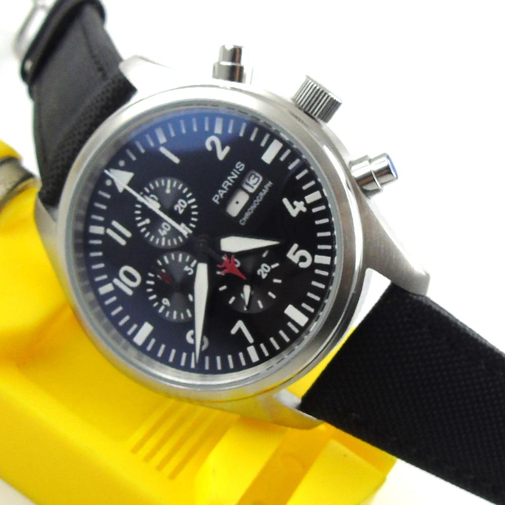 42MM Parnis Sports Three Chronograph Areas Men Quartz Date Watch Black Dial geneva cool dial three movt men quartz watch