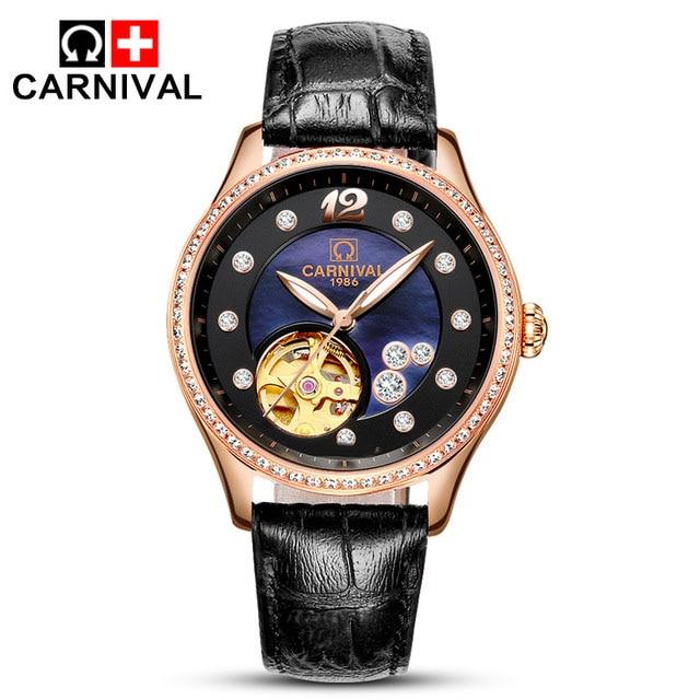 Luxury Carnival Brand Miyota Mechanical Watches Women Skeleton Shell Dial Diamond Waterproof Leather Fashion Clock цена и фото