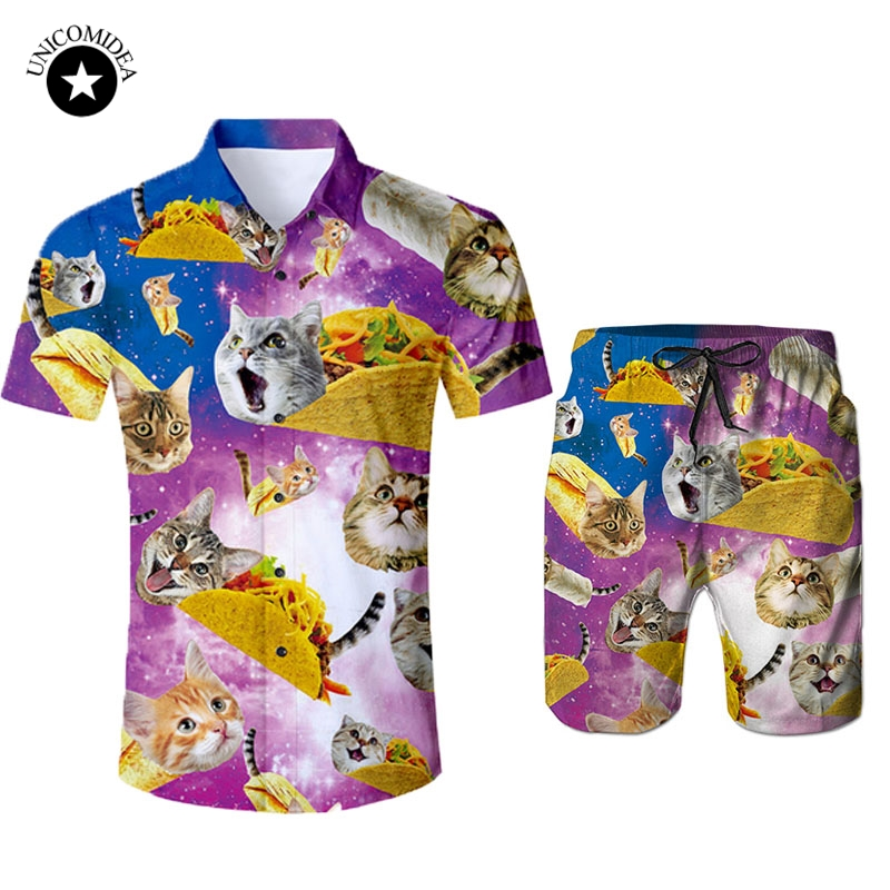 3D Galaxy Space Cat Print Men Hawaiian Shirt Shorts Casual Set Men's 2 Pieces Set Beach Shorts Tuxedo Shirt Plus Size