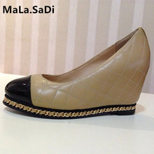 Fashion Women Office Lady Pumps Ling Genuine Leather High Heels Wedges Gold Color Chain Round Toe Shoes Size 35-40 2017new big size 33 42 genuine leather womens shoes wedges pointed toe high heels women office