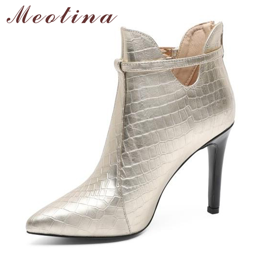 Meotina Ankle Boots High Heel Boots Genuine Leather Women Autumn Pointed Toe Natural Real Leather Short Boots Gold Black Size 40 6pcs of stylish color glazed round rings for women