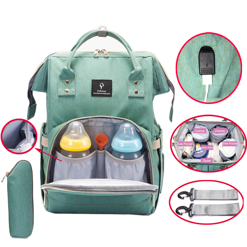 Diaper Bag USB Large Capacity Nappy Bag Waterproof Mom Maternity Travel Backpack Desinger Nursing Bag Baby Care Stroller Handbag flower diaper bag fashion mom baby maternity bag stroller shoulder multifunctional handbag large capacity nappy bag baby care
