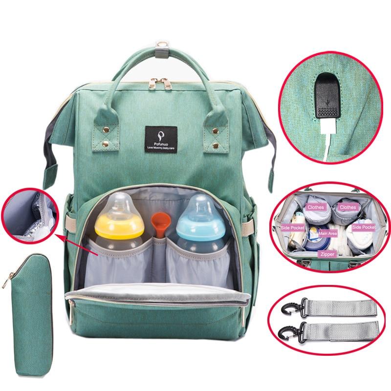 Diaper Bag USB Large Capacity Nappy Bag Waterproof Mom Maternity Travel Backpack Desinger Nursing Bag Baby Care Stroller Handbag