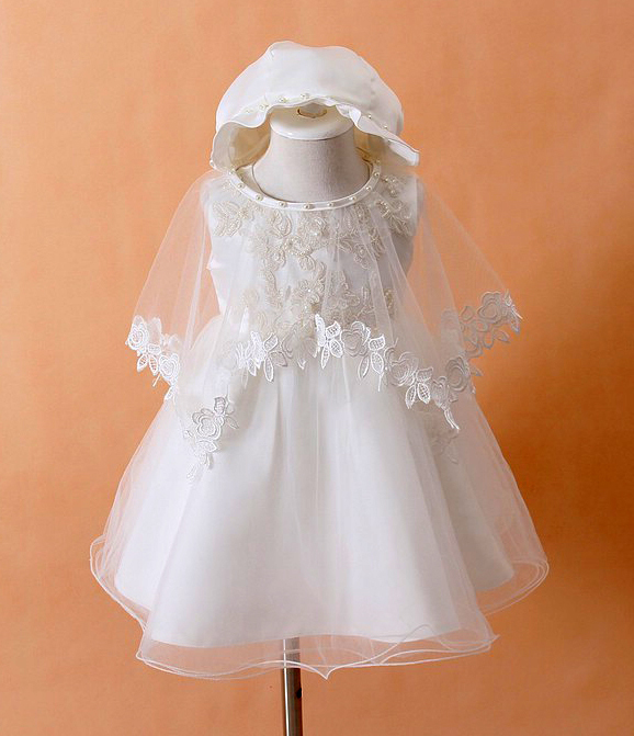 Wedding Dress To Christening Gown: Baby Christening Gown White Princess Baptism Toddler Dress