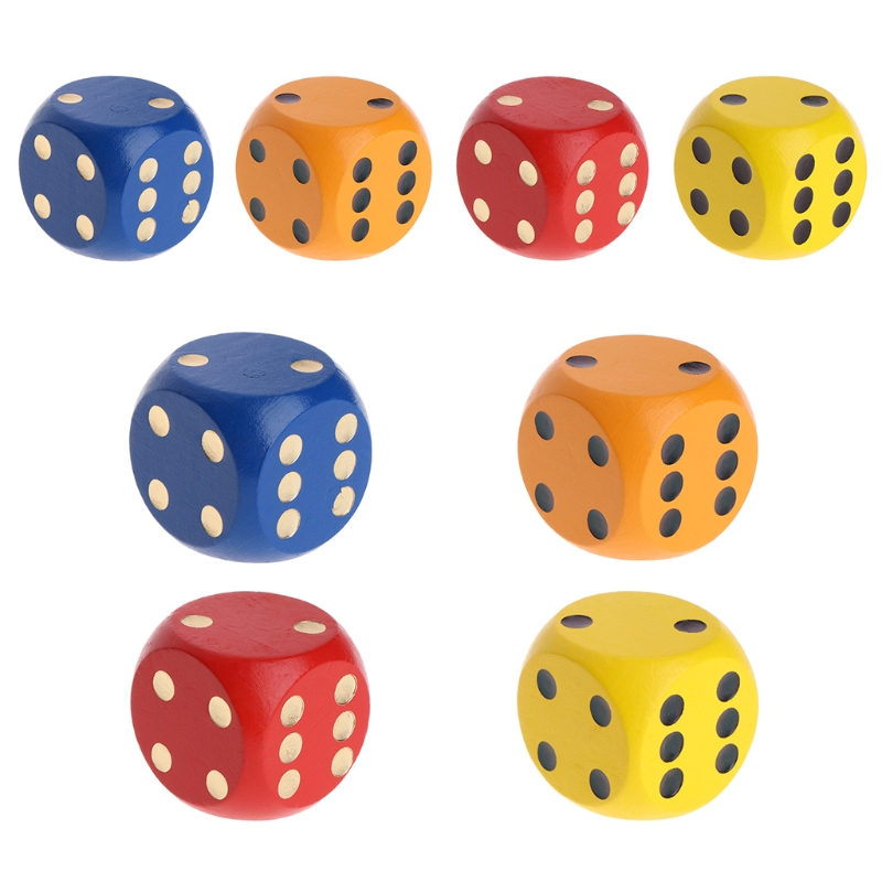 OOTDTY High Quality Color Point Wood Dice 3cm 4cm Entertainment Party Family Game Kid Toys Education