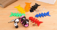 200pcs New Hot Sale Color Fishbone Earphone Heaphone Cable Winder Cord Holder For iphone samsung HTC Headphone line Clip