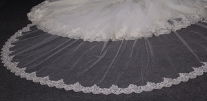 Image 3 - High Quality Neat Glitter Sequins Lace Edge 3 M Long Wedding Veil One Layer Cathedral Bridal Veil Voile Mariage