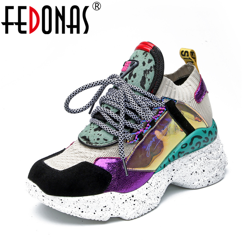 FEDONAS Shoes Woman Sneakers Spring Round Toe Genuine-Leather Casual Fashion Summer Corss-Tied