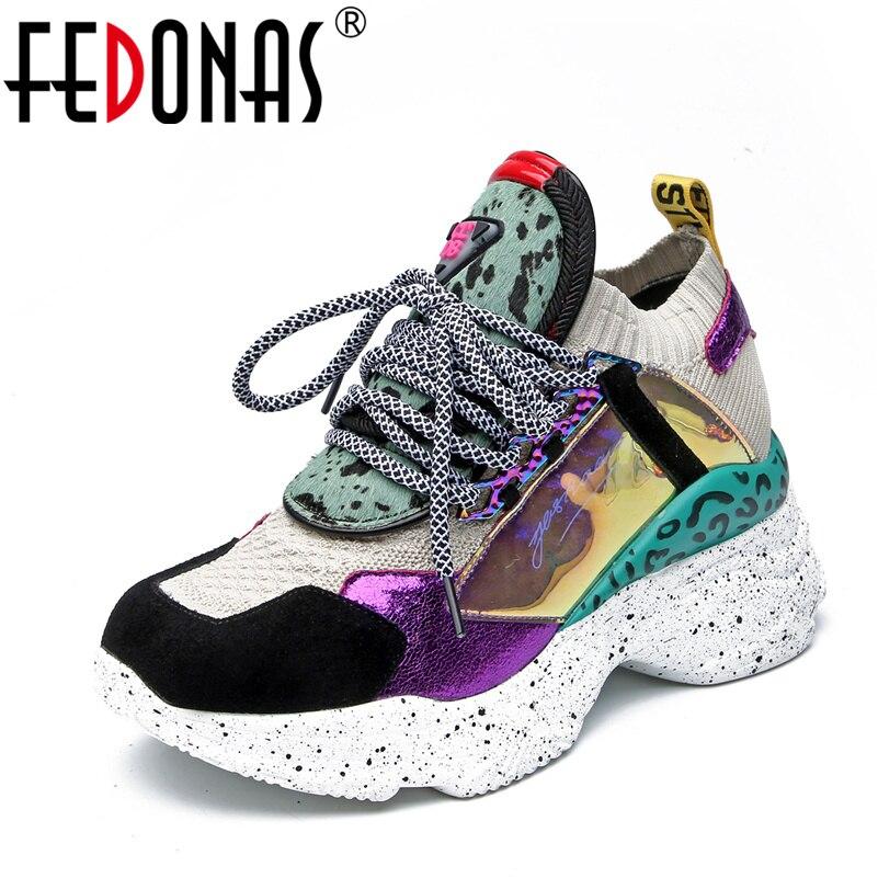 FEDONAS mode femmes en cuir véritable baskets appartements plates-formes Corss-attaché printemps été chaussures femme décontractées bout rond chaussures plates
