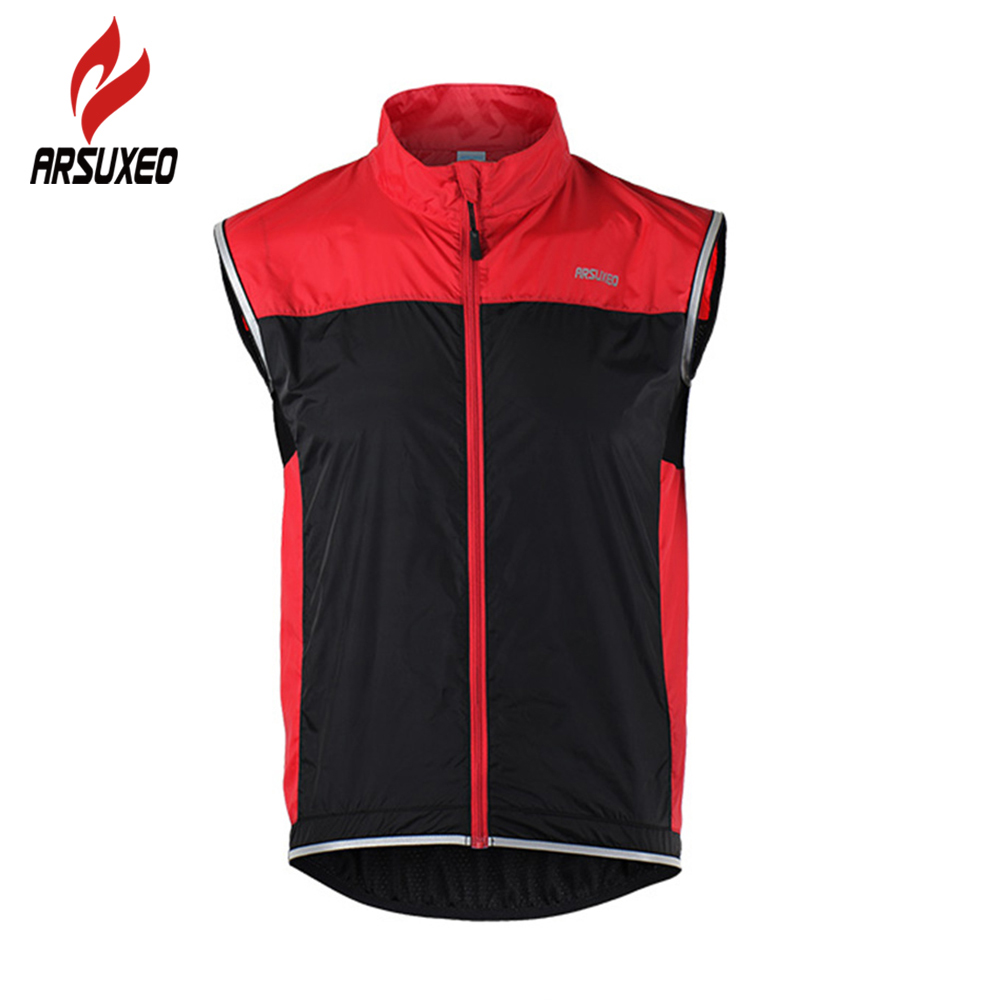ARSUXEO Cycling Jacket Sleeveless Cycling Vest Windproof Waterproof MTB Bike Bicycle Breathable Reflective Clothing