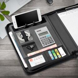 Büro Liefert Notebooks Schreiben Pads Zipper Padfolio A4 Rechner Manager tasche Clip PU Leder Treffen Bord Unterschrift Buch
