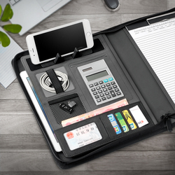 Office Supplies Notebooks Writing Pads Zipper Padfolio A4 Calculator Manager bag Clip PU Leather Meeting Board Signature Book